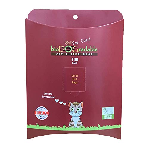 Cat Poop Litter Waste Bags - 100 Compostable Litter Bags Easy Tie Handles Gusset for Expanding - Holds Up to 11 Pounds - 8 Inches by 16 Inches Alternative to Plastic Bags - Quick Litter Box Cleaning