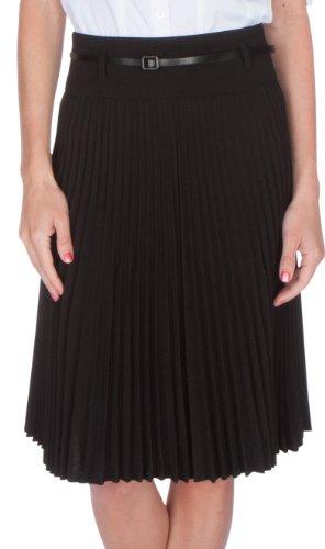 Knee Length Pleated A-Line Skirt with Skinny Belt