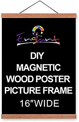 Magnetic Poster Hanger Frame Diy Lightweight Wooden Picture Frame Hanger With Strong Magnet For Hanging Poster Map Photos Paper Print Oil