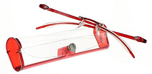 Reading Glasses Premium Feather Flex Rimless Reading Glasses with Case Single - Single Fiore