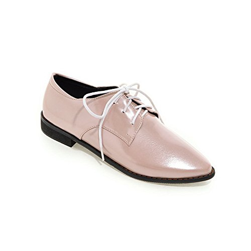 Balamasa - Zapatos Con Punta En Punta, Para Mujer, Tacón Cuadrado, Charol, Oxfords, Zapatos, Rosa