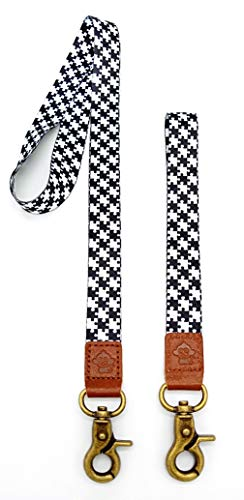 Holder Card Monkey (Happy Monkey Neck Lanyard Hand Wrist Lanyard Quality Strap with Metal Clasp and Genuine Leather for Key Chain/ID Card/Badge Holder etc(2Pack) (BK2))