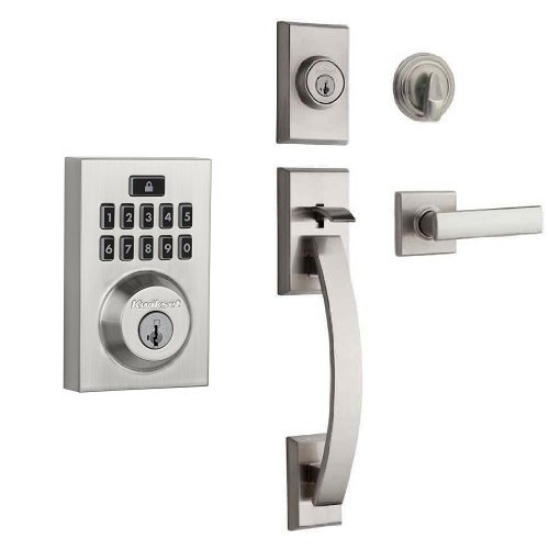 Kwikset 913 Contemporary SmartCode Electronic Deadbolt and Tavaris Single Cylinder Handleset Bundle, in Satin Nickel Best Selling