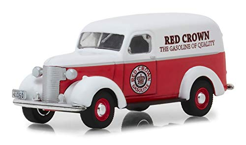 1939 Chevrolet Panel Truck Red Crown Gasoline Red with White Top Running on Empty Series 6 1/64 Diecast Model Car by Greenlight 41060 E ()
