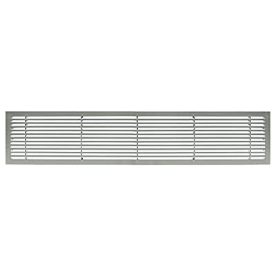"""Architectural Grille 200042401 AG20 Series 4"""" x 24"""" Solid Aluminum Fixed Bar Supply/Return Air Vent Grille, Brushed Satin"""
