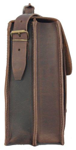 FREIHERR VON MALTZAHN Aktentasche 385-58, braun, Bio-Leder, Made in Germany + Lederpflege