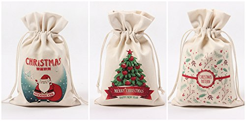 Christmas Forte Bags, Inf-way Drawstring Organza Gift Packages Santa Sack Wedding Candy Wrap Bags, 9.5'' x 6.3'' Reusable Linen Pouches (Group 1)