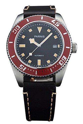 Parnis Watch Ceramic Bezel Automatic Men's Brown Leather ...