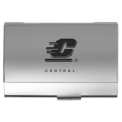 Central Michigan University - Two-Tone Business Card Holder - Silver (Holder Card Business Michigan)