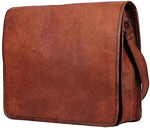 Leather bag 11X15 inch Mens Genuine Leather Messenger full flap College Macbook Air Pro Laptop Ipad Tablet Office Briefcase Satchel Bag crossbody sling business bag