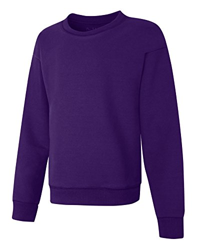 Girl Kids Crewneck Sweatshirt - Hanes Big Girls' ComfortSoft EcoSmart Fleece Sweatshirt, Purple Thora, M