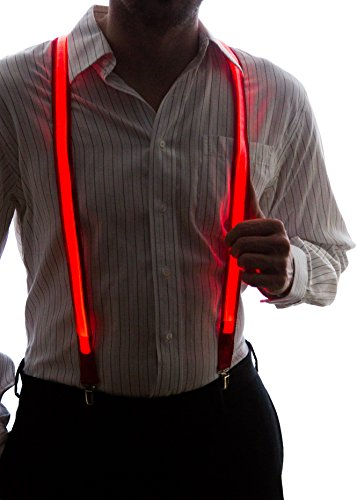 Male Costumes With Suspenders (Neon Nightlife Men's Light Up LED Suspenders, One Size, Red)