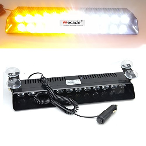 Wecade 12w 12 Leds Car Truck Emergency Strobe Flash Light Windshield Warning Light (Amber/White)