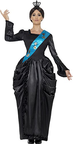 [Smiffy's Women's Queen Victoria Deluxe Costume, Dress, Attached Sash and Headpiece, Tales of Old England, Serious Fun, Size 14-16,] (Womens Halloween Costumes Uk)
