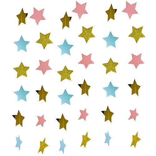 Gender Reveal Party Decorations 2pcs Twinkle, Twinkle Pink Blue Gold Paper Star Garland Star String Baby Shower Decorations, Birthday Decorations, Boy Girl Gender Reveal Party ()