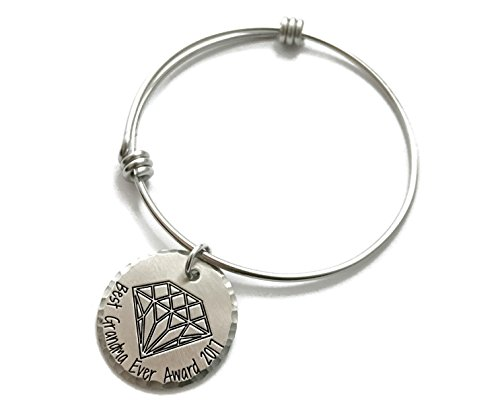 Best Grandma Ever Gift   Best Grandma Ever Award 2017 Bangle Bracelet   Perfect Mimi Nana   Hand Stamped Jewelry   Personalized Engraved Jewelry
