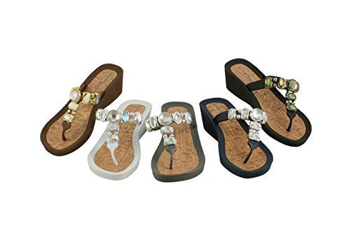 Linea Scarpa GRADO Zapatillas baño - Chanclas de dedo Mujer de moda Flip con Tacón blanco