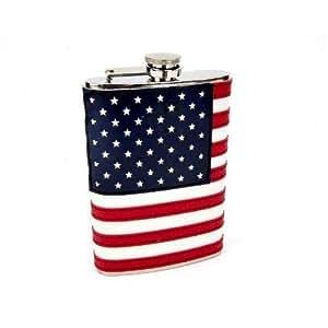 8oz Stitched American Flag Flask New