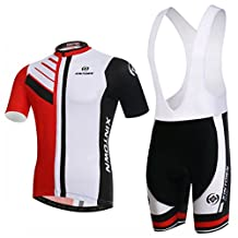 BESYL Unisex Red White Black Printed High-Performance Mesh Cycling Clothing Kit, Cycling Jerseys Short Sleeve and Padded Shorts Suit for Bike, Biker, Bicycle, Riding