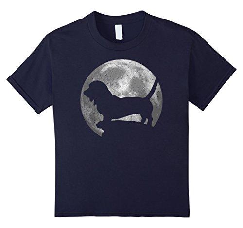 Costumes Normands (Kids Basset Artesien Normand Eclipse Full Moon T-shirt Halloween 12 Navy)