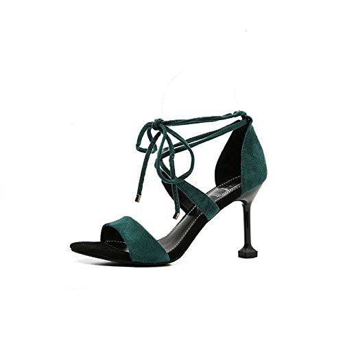 Con GAOLIM Calzado Delgado Ranurada Zapatos Zapatos Como De cm Transversal Zapatos Cabeza Ultra Tira Zapatos Verano Con Redonda Tacón Alto Mujer 8Cm O Green Finos De 8 Sandalias Solo Más 6Pr6g