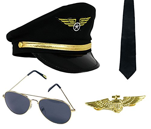 Badge Métal Pilote Paire Couleur Adulte Une Noir De Aviateur Or Orné PiTuwOkZlX