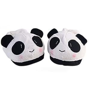 Bei wang - Zapatillas calientes en forma de oso panda, tejido, blanco, Frau