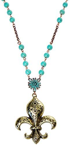 (Neckace - Long Turquoise Copper Color Chain Large Fleur De Lis - Ricki's Fleur De Lis)