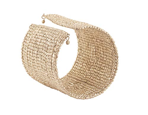 Touchstone New Indian Bollywood Finely Intertwined Beaten Beads Finely Placed On Thin Durable Wire Wrist Decorator Designer Jewelry Cuff Bracelet in Silver Tone for Women.