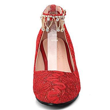 ggx Verano Tacones Cuña Tacón Ruby Lvyuan Rojo Gladiador Cms Blanco Boda 7 Otoño Confort 5 Mujer Semicuero B1nxfwEYdx
