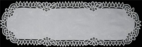 Creative Linens White Battenburg Lace Table Runner 16x43