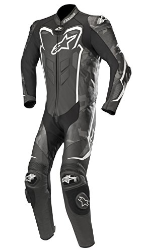 GP Plus Camo Leather Racing One Piece Motorcycle Suit (46 EU, Black Camo White)