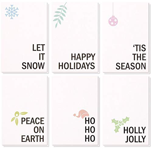 48Pack Merry Christmas Greeting Cards Bulk Box Set  Winter Holiday Xmas Holiday Greeting Cards with Minimalistic Design Envelopes Included 4 x 6 Inches