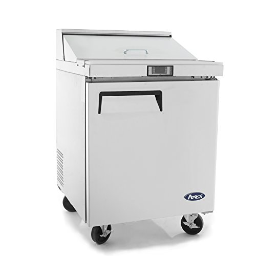 Sandwich Prep Table Refrigerator,ATOSA MSF8301 1-door Stainless Steel Salad Prep Table-Refigerator for Restaurant Kitchen 6.5 Cu.Ft. 27.5W30D43.7H inch 33℉—38℉ 1 Door Sandwich