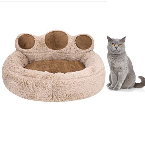 Qchomee Katzenbett mit Bärenpfoten, Plüsch, für Hunde und Katzen, Donut-Kissen, selbstwärmendes Sofa, Schlafsack für Katzen und kleine mittelgroße Hunde, abnehmbar und waschbar
