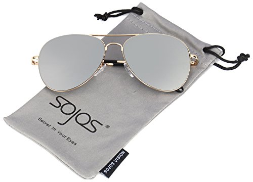 SojoS Classic Aviator Mirrored Flat Lens Sunglasses Metal Frame with Spring Hinges SJ1030 With Gold Frame/Silver Mirrored - Best Glasses Aviator