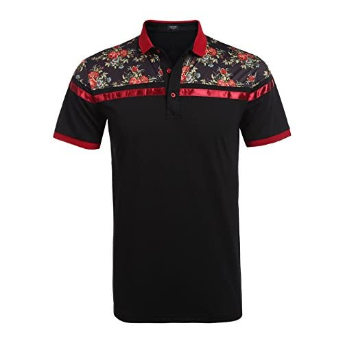 Nice COOFANDY Men's Classic Floral Stripe Long Short Sleeve Light Weight Polo Shirts for sale