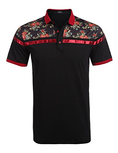 Mens Designer T-shirts - COOFANDY Men's Classic Floral Stripe Long Short Sleeve Light Weight Polo Shirts, Type 1 Black, Small