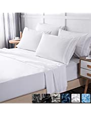 LIANLAM Queen 6 Piece Bed Sheets Set - Super Soft Brushed Microfiber 1800 Thread Count - Breathable Luxury Cooling Sheets Deep Pocket - Wrinkle and Fade Resistant - Hypoallergenic (White, Queen)