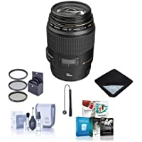 Canon EF 100mm f/2.8 USM Macro Auto Focus Lens, USA - Bundle with 58mm Filter Kit, Lens Cap Leash,Lens Cleaning Kit, Lens Wrap, Pro Software Package