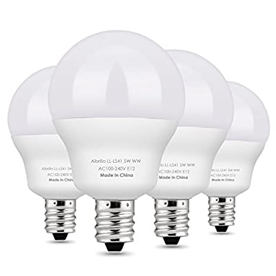 Albrillo E12 Bulb Candelabra LED Bulbs 5W, 40 Watt Equivalent, Warm White, 4 Pack