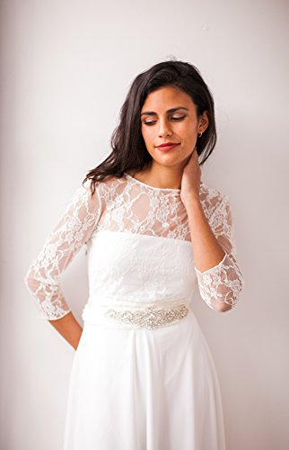 Amazon.com: Long sleeve lace shrug, lace shrug, bridal shrug, long sleeve bridal bolero, lace wedding shrug, white lace shrug, bridal lace shrug coverup: ...