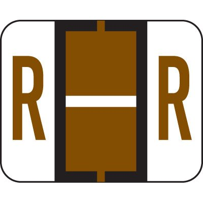 (AMZfiling Alphabetic Color Coded Labels- Letter R, TAB Compatible, Brown (Vinyl,)