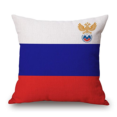 (GATELEE 2018 World Cup National Flag Pillow Covers Russia FIFA Football Fans Throw Pillowcases Cushion Cover Soccer Home Decor For Sofa Bed 18x18 Inches (Russia))