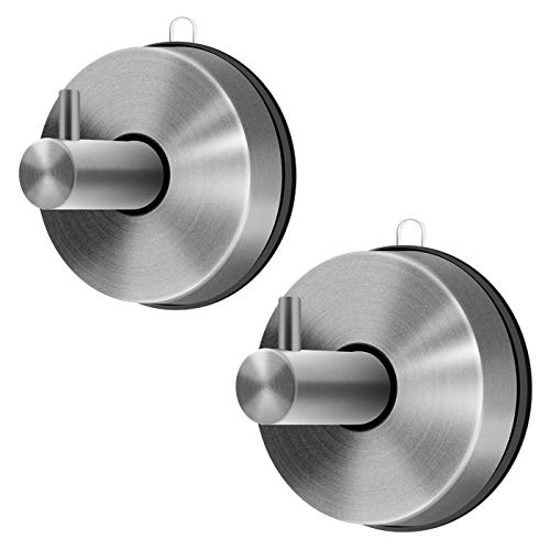 ZIRUI 2Pcs SUS 304 Stainless Steel No Drilling Vacuum Suction Cup Hooks | Removable Bathroom Shower Hook Suction Towel Rack and Kitchen Organizer for Towel Hook | Brushed Finish