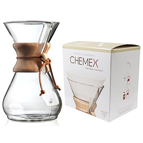 Chemex Classic Series, Pour-Over Glass Coffeemaker, 8-Cup with Chemex Bonded Coffee Filters, Circle, 100ct