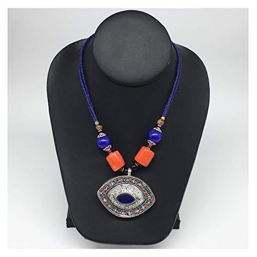 WatanGems 1pc,Turkmen Necklace Pendant Statement Tribal Marquise Lapis Lazuli Pendant Beaded Necklace Handmade from Afghanistan, 20-22