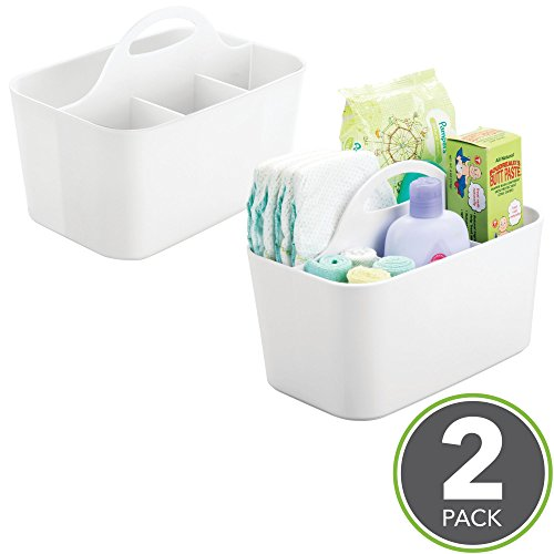 mDesign Baby Nursery Storage Caddy Bin – BPA Free - 4 Section Tote for Organizing Lotion, Shampoo, Diapers, Wipes, Towels - Pack of 2, White from mDesign