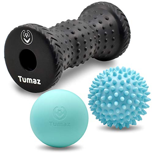 Tumaz Massage Ball & Foot Roller 3-in-1 Set with Spike Ball, Lacrosse Ball,  Massage Roller - Ergonomic Design to Free The Plantar Fasciitis, Deep Muscle Tissue and Whole Body's Pain]()