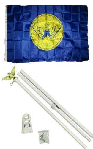 Moon Knives 3x5 City of Atlanta Georgia Flag White Pole Kit Set - Party Decorations Supplies For Parades - Prime Outside, Garden, Men Cave Decor Flag]()
